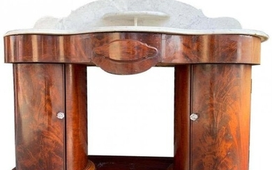 1800s Entry Table With Marble Top by F Danby