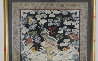 19th or early 20th century Chinese embroidered silk panel de...