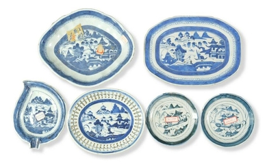 6 Chinese Blue & White Export Plates, 19th Century