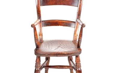 A 19TH CENTURY OXFORD ELM CHILD'S CHAIR with bar back, ring ...