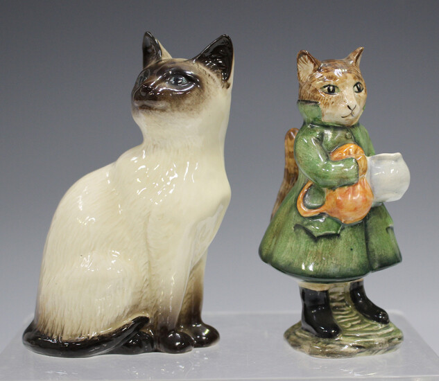 A Beswick Beatrix Potter's figure of Simpkin, mark BP-3b, together with a Royal Doulton Siamese