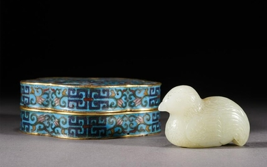 A CARVED JADE BIRD WITH CLOISONNE ENAMEL BOX