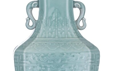 A Chinese celadon hexagonal hu vase, paired with elephant head handles, with a Qianlong mark, H 36,5 cm