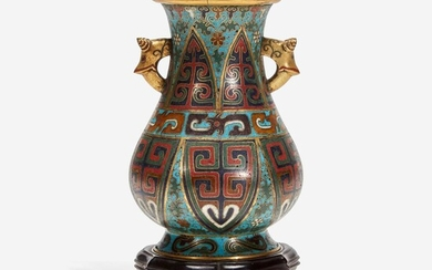A Chinese cloisonné archaistic small vase with carved wood stand 掐丝珐琅小樽带底座