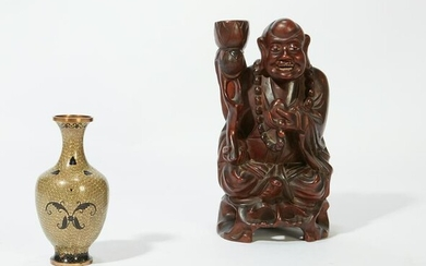 A Chinese figure & a cloisonne vase