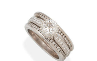 A DIAMOND RING, TOGETHER WITH TWO DIAMOND BANDS