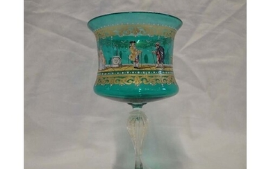 A LARGE VENETIAN GREEN GLASS GOBLET, decorated with figures ...