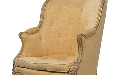 A LOUIS XV-STYLE GREY-PAINTED AND PARCEL-GILT BERGERE