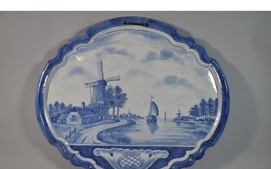 A Large 18th Century Style Delft Tin Glazed Blue and White W...