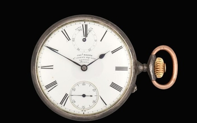 A Silver Open Faced Power Reserve Pocket Watch, signed Geoe...