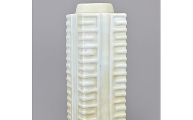 A chinese celadon porcelain cong vase. height approx. 27 cm