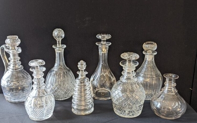 A collection of 19th century Irish glass decanters
