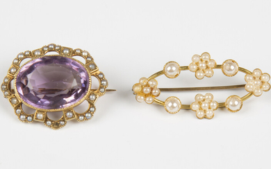 A gold, amethyst and seed pearl oval brooch, collet set with the oval cut pale amethyst within an op