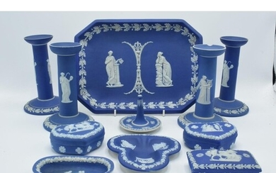 A good collection of Wedgwood Jasperware in the dip blue col...