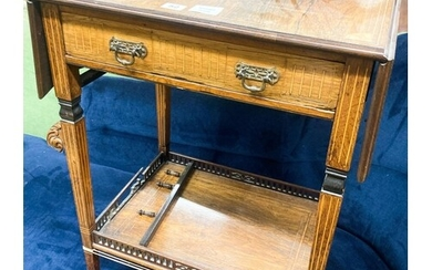 A late Victorian inlaid rosewood drop flap occasional table,...