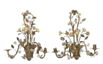 NOT SOLD. A pair of French bronze and brass bracket lamps, decorated with repoussé flowers....