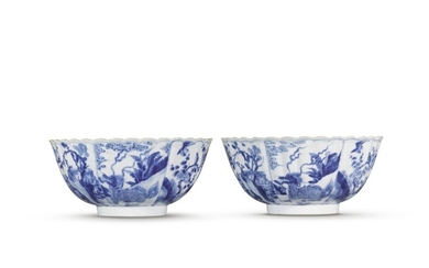 A pair of blue and white lobed bowls, Qing dynasty, Kangxi period | 清康熙 青花花鳥瑞獸紋花式盌一對, A pair of blue and white lobed bowls, Qing dynasty, Kangxi period | 清康熙 青花花鳥瑞獸紋花式盌一對