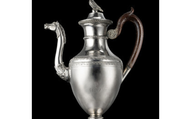 """A silver coffee pot, ciphered """"AS"""". Naples, 19th century. Undeciphered silversmith (g 650) (cm 30) (defects)Read more"""