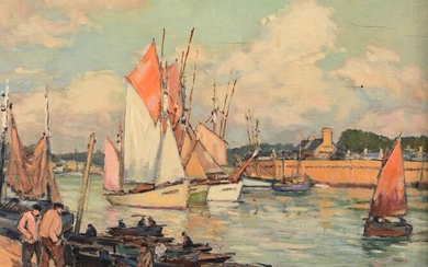 """André DEMOLY (1889-1961) """"Concarneau, back port, return from fishing"""" hsp sbg 22x27"""