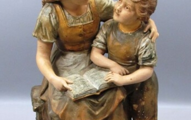 Antique Austrian Ceramic Figurine in the Figure of a Boy and Girl Reading a Book