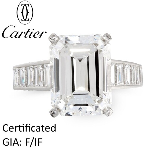 CARTIER, HIGHLY IMPORTANT 6.04 CT. F/IF DIAMOND RING, in pla...