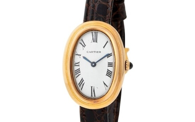 Cartier. Special Baignoire Oval Wristwatch in Yellow Gold, With Silver Roman Numbers Dial