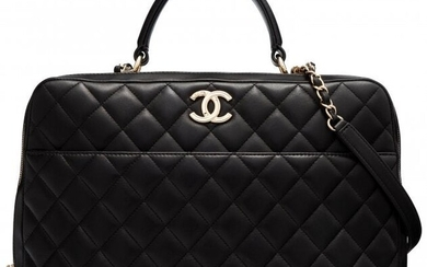 Chanel Black Quilted Lambskin Leather Trendy CC