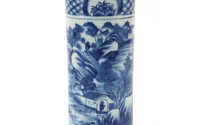 Chinese blue and white brush pot hand painted with a mountai...