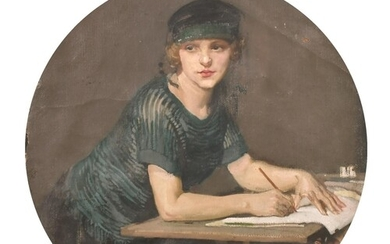 Early 20th Century English School. A Young Girl at a Writing...