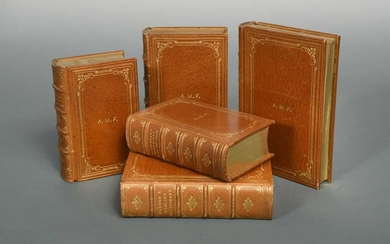 Fine bindings signed Cartier Ltd. Miniature 'Reference Library' group of Cassell's dictionaries