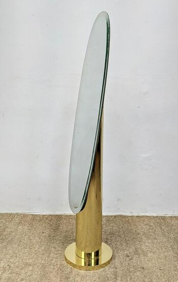 Floor Model Oval Mirror on Gold Tone Stand. Modern Chev