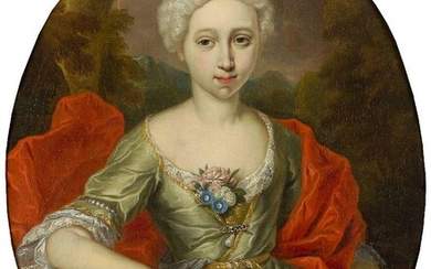 French School, early 18th Century- Portrait of a lady as Diana, three-quarter length, holding an archer's bow; oil on canvas, oval, 82.2 x 66.5 cm. (VAT charged on hammer price). Note: The depiction of Diana the Huntress was a commonly explored...