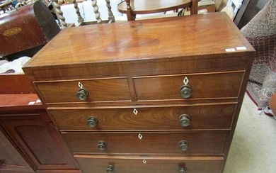 GEORGIAN MAHOGANY CHEST OF TWO SHORT AND THREE LONG DRAWERS