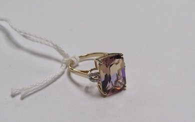 GOLD AMETRINE AND DIAMOND SET RING OF APPX 6 carats - SIZE L...