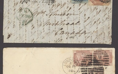 Great Britain 1847-54 Embossed Issue 10d. brown, cut square and used with 1841 2d. on 1854 (Feb...