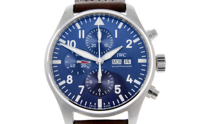 """IWC - a gentleman's stainless steel Pilot Edition """"Le Petit Prince"""" chronograph wrist watch."""