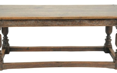 Jacobean Style Oak Table Top with breadboard ends on