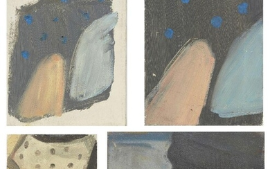 James Collins, British 1939-2021 - Abstract Composition with Blue Spots; oil on canvas, 23.2 x 30.6 cm: together with 3 other works by the same artist, 'Abstract Composition with Blue Spots', 30.5 x 29.9 cm, 'Black Spotted Shirt', 27.8 x 17.8 cm...