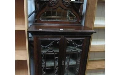 Mahogany 2 Door Glazed Mirror Top Cabinet.