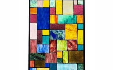 Modern Geometric Multi Media Stained Glass Hanging