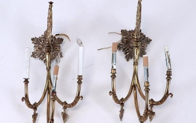 PAIR 19TH C. FRENCH BRONZE 3-ARM WALL SCONCES