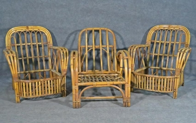 PAIR BAMBOO & RATTAN LOUNGE CHAIRS & CHAISE LOUNGE