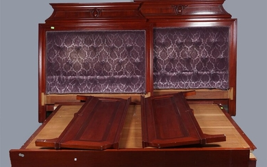 PAIR OF MODERN NEOCLASSICAL STYLE TUFTED UPHOLSTERED AND MAHOGANY BEDS