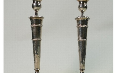 Pair of 19th century French silver candlesticks: Weight 876g...