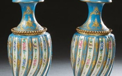 Pair of Sevres Style Gilt Spelter Mounted Covered