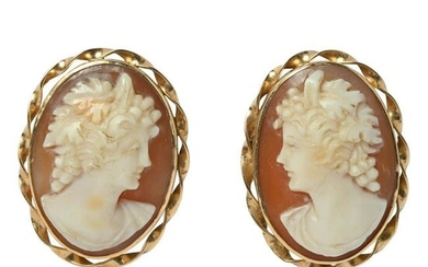 Pair of Shell Cameo, 14k Yellow Gold Earrings.