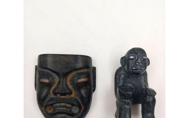 Pre-Columbian Type Stone Mask And Sculpture