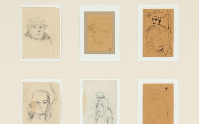 NOT SOLD. Preben Hornung: Six portraits. All signed monogramme and dated. Pencil and ink on paper. Sheet size 8 x 11 - 16 x 12 cm. – Bruun Rasmussen Auctioneers of Fine Art