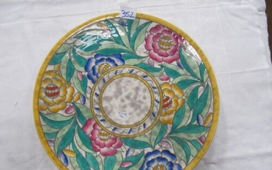 Signed Charlotte Rhead Crown Ducal Charger 32.5cm diameter