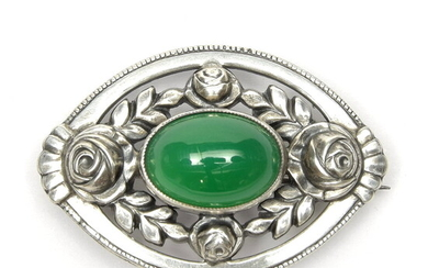 Silver brooch decorated with roses & green chrysoprase, design &...